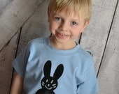 Boys Easter Chalkboard Bunny Shirt in Light Blue Draw Erase and Wear