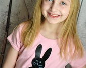 Girls Easter Chalkboard Bunny Shirt in Pink Draw Erase and Wear