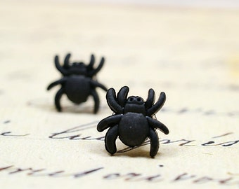 Tiny Black Spider Earrings / Halloween Jewelry, Bug Jewelry, Black Stud Earrings with Bugs, Arachnids, Arachnophobia, Creepy or Scary