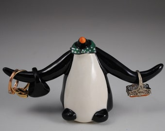 Ceramic Clay Emperor Penguin Ring Holder with Green and White Polka Dots Bowtie Bow Tie