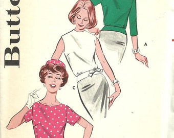 Butterick 9583 // Vintage 60s Sewing Pattern // Blouse Shirt // Size 12 Bust 32
