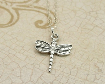 Dragonfly Necklace, Sterling Silver Dragonfly Charm on a Silver Cable Chain
