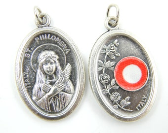 Saint Philomena Relic Catholic Medal - 3rd Class Relique Charm - Patron Saint of Babies and Kids L10