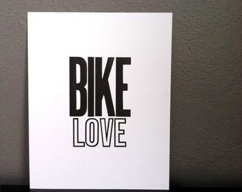 Bike Art, Art for Biker, Bicycle Poster, Black and White Wall Art, Letterpress Poster, 8x10