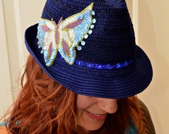 LED Fedora Navy with Blue Lights Sequin Butterfly Applique Women's Trilby Hat - Illuminated, Light Up, Glow, Burning Man, Festival, Rave