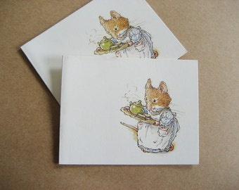 2 Brambly Hedge Gift Cards Jill Barklem Mouse Tea on a Tray 1982