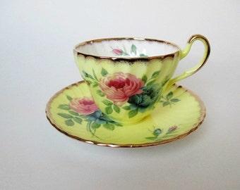 Foley Yellow Tea Cup & Saucer Pink Blue Roses
