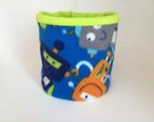 Kids Fleece Neck Warmer / Kids Neck Gaiter / Cowl Scarf / Blue Lime Green Neck Warmer - Robots Lime Green