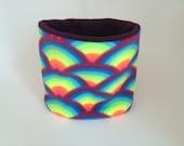 Fleece Neck Warmer / Neck Gaiter / Cowl Scarf / Neck Warmer. Neon Rainbow.  Kids or Adult sizes available
