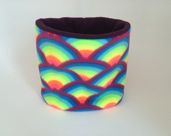 Fleece Neck Warmer / Neck Gaiter / Cowl Scarf / Neck Warmer. Neon Rainbow.  Kids or Adult sizes available