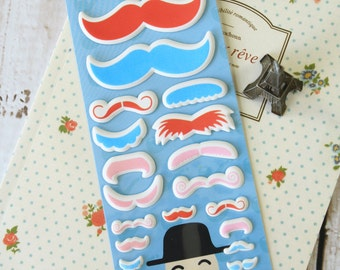 RED Happiness MUSTACHE embossed cartoon stickers