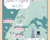 100 4x6 Postcard Prints - Custom Wedding Map New York City Save the Date - Any City!!