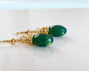 Green Crystal Earrings, Palace Green Opal, Green Bridesmaid Earrings, Green Teardrop Earrings, Swarovski Crystal, Gold Filled, Wire Wrapped