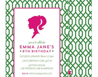 Preppy Modern Girl Silhouette Birthday Party Invitation | You Choose Pattern and Silhouette Color | Set of 20 Double-Sided Invitations