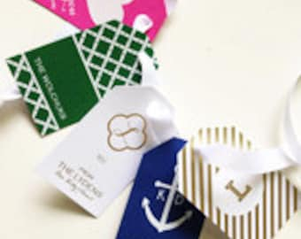 Personalized Foil-Stamped Gift Tags | Luggage Tag Style | You Choose Paper and Foil Ink Color | Many Designs to Choose From