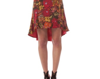 Black Botanical Tango Silk Skirt - WearMena