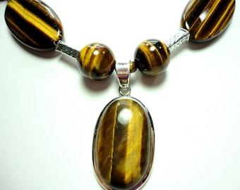 Tiger Eye Necklace Genuine Large Oval Tigereye Golden Flash Gemstones Necklace with Sterling