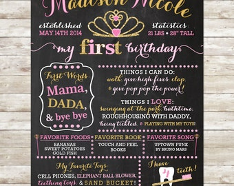 1st Birthday Chalkboard, Digital File, Birthday Stats Photo Prop, Personalized Poster, Princess Birthday, Crown, Pink and Gold Glitter, One