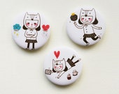 "A Girl's Diary 1.75"" (44mm) Button Badges or Magnets - Encouragement Love Birthday Friendship Pin Bdage - Happy Pinning"