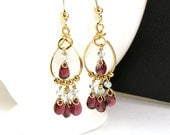 Marsala Red Garnet Chandelier Earrings and Light Blue Aquamarine Wire Wrapped Gold Filled Earrings