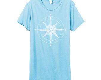 Compass Shirt - Womens Tshirt - Nautical - Sailor Shirt -  Blue Womens Shirt - Small, Medium, Large and XL - Eco Fashion
