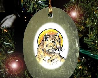 Mountain Lion/ Puma/ Cougar Totem Animal Yule, Holiday, Christmas Ornament