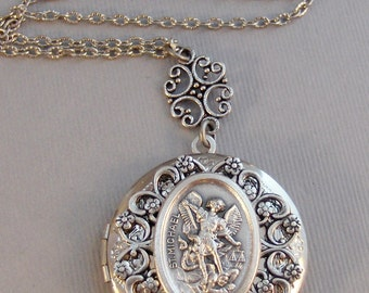 Saint Michael,Necklace,Locket,Michael,Silver Locket,Mens,Saint,Medal,Silver,Religious,Religious Jewelry,Religious Necklace,valleygirl
