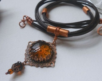 Filigree and Amber Glass Necklace