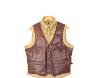 70s Down Vest Jacket * Puffer Vest * Western Leather Vest  * Men's Medium
