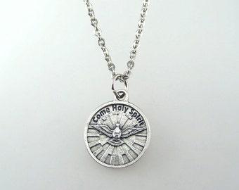 Holy Spirit Prayer Medal Necklace