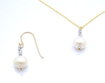 Pearl earrings with gold filled & Silver beads