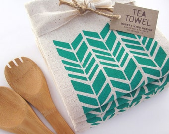 Modern Shapes -  Herringbone -Tea Towel - Screen Printed