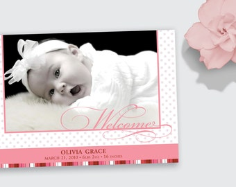 Photo Birth Announcement - Polka Dots Baby Boy or Girl - DEPOSIT