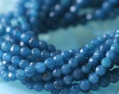 4mm Faceted Round Gemstone Beads For Jewelry Making Supply - Blue Stone Jade Beads (7.5 inch strand ~45 beads)