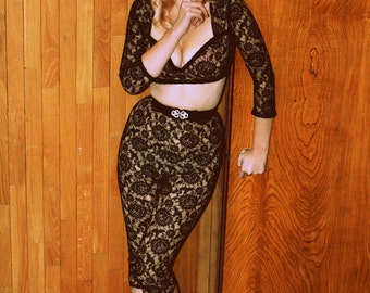 Custom Couture Shirt and Pants in Nude Silk Chiffon and Black Lace Pinup Sexy Suit with Velvet and Crystals Bombshell