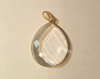 32x26mm Gold vermeil Faceted Quartz Teardrop Pendant