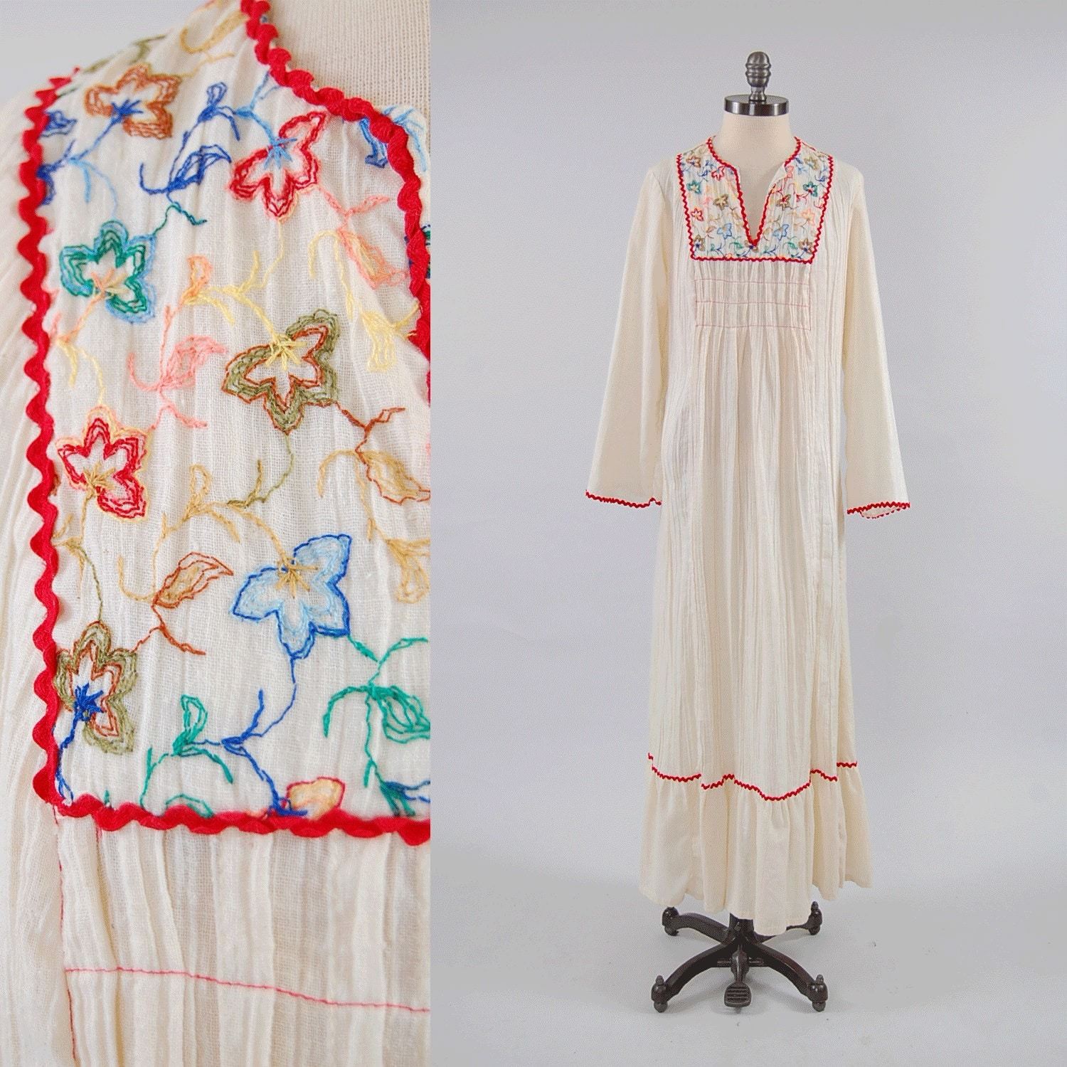 Vintage s cream gauze embroidered floral maxi dress wide