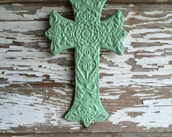 Wall Cross - Cast Iron Cross - Painted Mint and Distressed (#707)