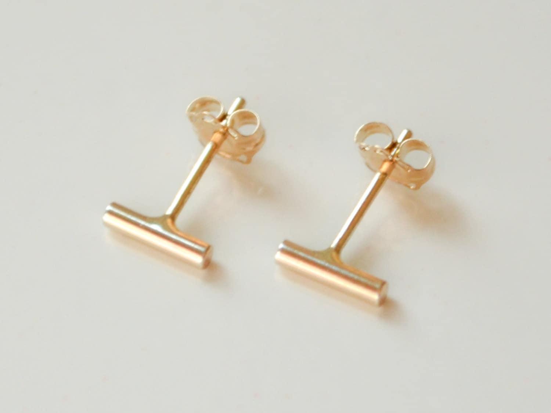 14k gold bar stud earrings solid 14 kt small bar earrings