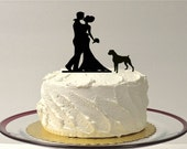 WITH PET DOG Wedding Cake Topper Silhouette Wedding Cake Topper Bride + Groom + Dog Pet Family of 3 Cake Doberman Rottweiler Pitbull Topper