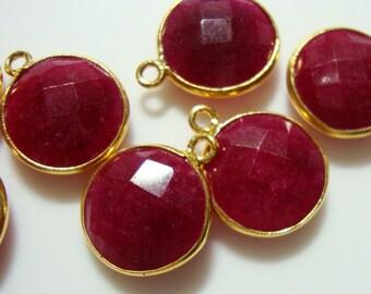 Handmade Dyed Ruby Vermeil over Sterling Silver Bezel Rim Round Pendant Charm, 16x13mm, 2 pcs