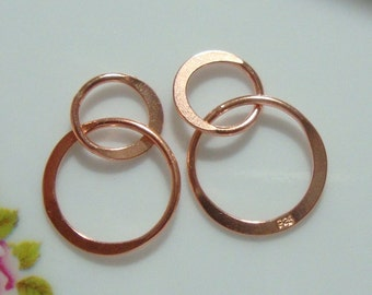 Rose Gold over Sterling Silver Handcrafted 2 circles Link, Infinity Link, Infinity Connector,13x20mm, 2 pcs