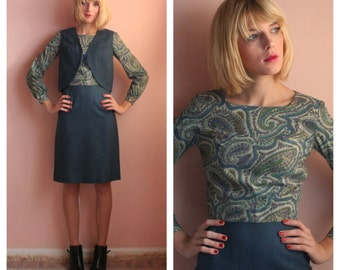 1960's Suit / Three Piece Suit Set / Paisley Secretary Dress / Sixties Twiggy Era Blouse Skirt and Waistcoat Set / Charcoal Blue