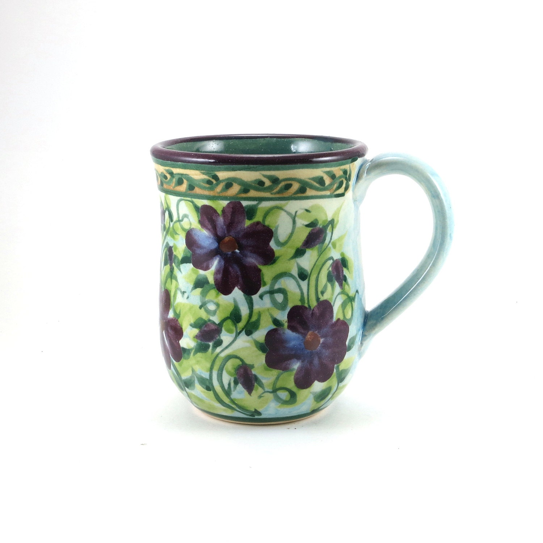 Coffee Mug Unique Coffee Mug Blue Porcelain By Sandykreyer