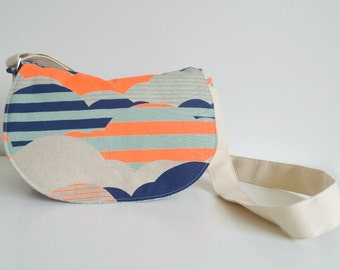 Crossbody bag - Messenger Bag in Neon and Navy Clouds with Stripes on Natural