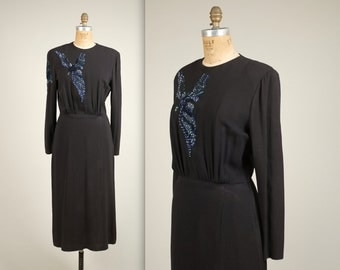 1940s bird of flight sequinned dress • vintage 40s dress • crepe evening dress