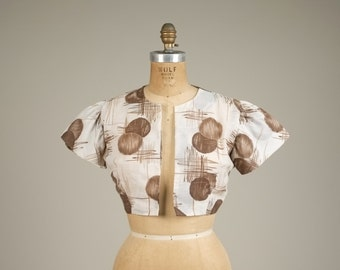 1950s atomic print bolero • vintage 50s jacket • cropped jacket