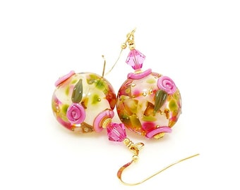Pink Earrings, Floral Earrings, Lampwork Earrings, Glass Earrings, Glass Bead Earrings, Glass Bead Jewelry, Gold Filled Earrings