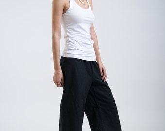 Black Culottes / Wide Linen Capri Pants / Oversized Pants / Comfortable High Fashion / Loose Fitting Pants / Marcellamoda -MP0253