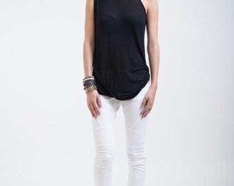 Sleeveless Top / Black Asymmetric Blouse / Tank Top / Extravagant Shirt / Oversize Party Top / Sheer Blouse / marcellamoda - MB252